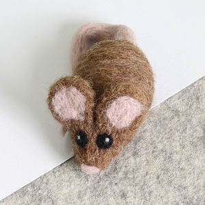 Brown Mouse Brooch Needle Felting Craft Kit - knitting kits