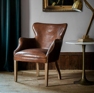 Havana Brown Leather Chair - furniture
