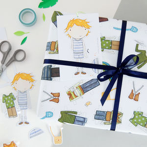 Colin Paper Doll Wrapping Paper Set - ribbon & wrap