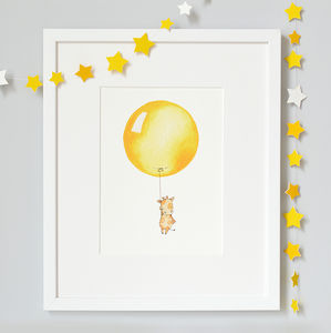Personalised Bright Yellow Balloon Nursery Print - baby's room