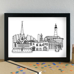 Plymouth Skyline Cityscape Art Print - architecture & buildings