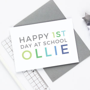 Personalised First Day At School Card - good luck cards