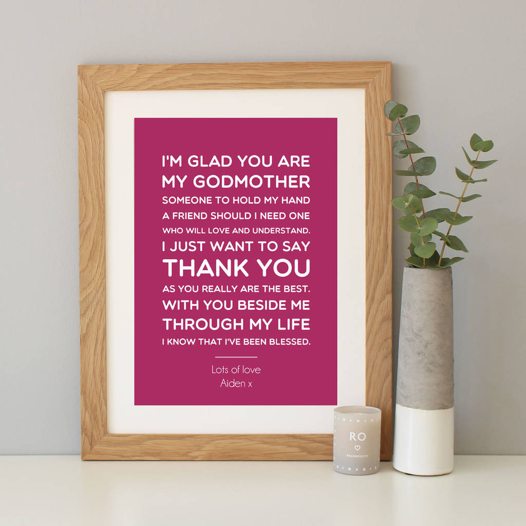 Personalised Godmothergodparentgodfather Gift By Hope And Love