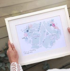 Personalised Wedding Footprint Map Of Events - posters & prints