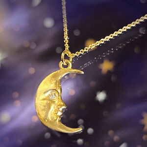Solid Gold Moonface Necklace With Real Diamond Eye