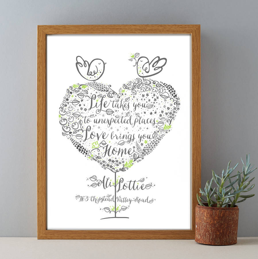 New home personalised housewarming gift print by wetpaint for Unique new home gifts