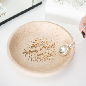 Personalised Couples Wedding Confetti Ring Dish