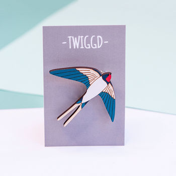 Wooden Swallow Brooch
