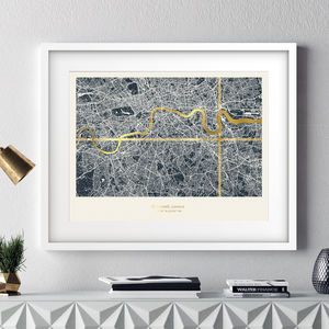 Personalised Metallic London Coordinates Map In Navy - 50th birthday gifts