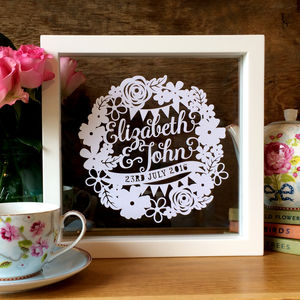 Personalised Floral First Wedding Anniversary Gift - mixed media & collage