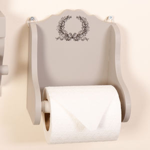 Anne Marie French Grey Wooden Toilet Roll Holder - bathroom