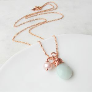 Amazonite And Rose Gold Necklace - birthstone jewellery gifts