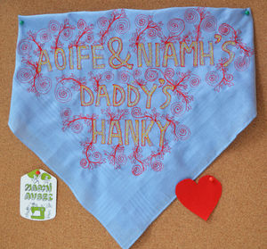 Father's Day Embroidered Art Hanky - handkerchiefs