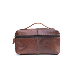Handle Leather Wash Bag - men's grooming & toiletries