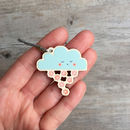 Wooden Cloud Charm