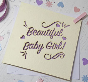 Baby Girl Laser Cut Card