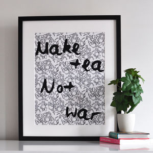 'Make Tea Not War' Kitchen Print - posters & prints