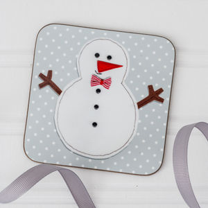 Christmas Snowman Coaster Set - table decorations