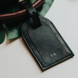 Personalised Black Leopard Print Leather Luggage Tag