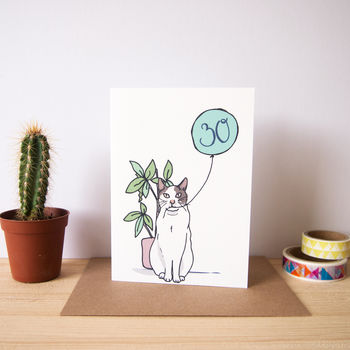 Personalised Age Cat Birthday Card