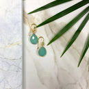 Ashiana Gold Aqua Chalcedony Semi Precious Earrings
