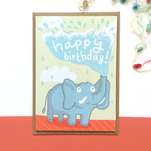 'Elephant Birthday' Greeting Card