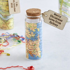 Personalised Map Message Bottle Keepsake Token Gift