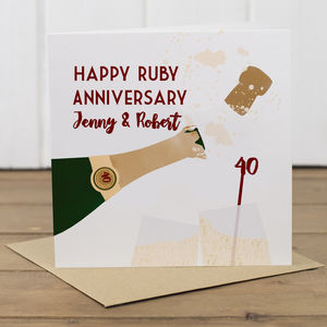 Personalised 40th Ruby Anniversary Card - shop by category