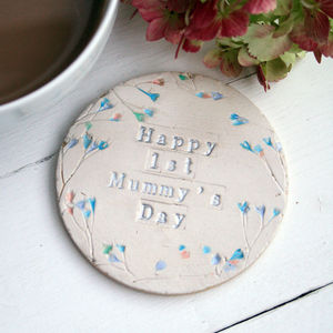 Floral First Mummy's Day Ceramic Coaster - tableware