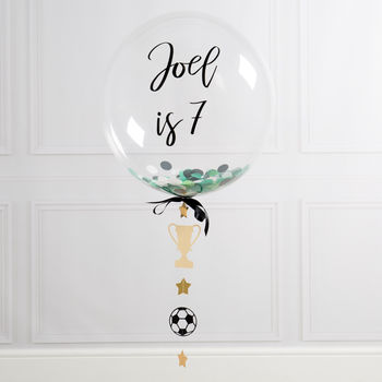 Personalised Eat Sleep Football Confetti Bubble Balloon