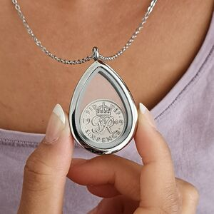 Dates 1928 To 1967 Teardrop Sixpence Locket Necklace