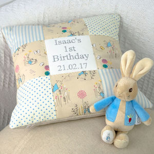Peter Rabbit© 1st Birthday Cushion - cushions