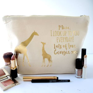Personalised Giraffe Looking Up Toiletry Bag