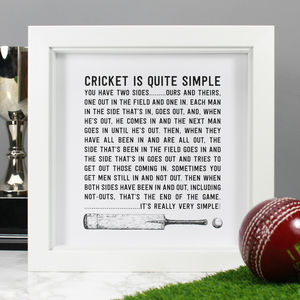 'Cricket Is Simple' Illustrated Quote Print - shop by price