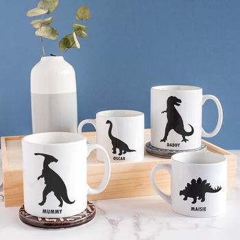 Personalised Dinosaur Family Mug Set