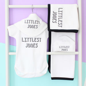 Personalised Littlest Family Member Gift Set - clothing
