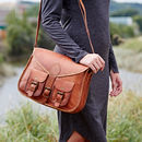 Personalised Leather Satchel Style Saddle Bag