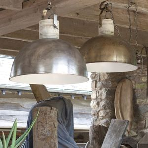 Iron And Mango Wood Dome Pendant - dining room