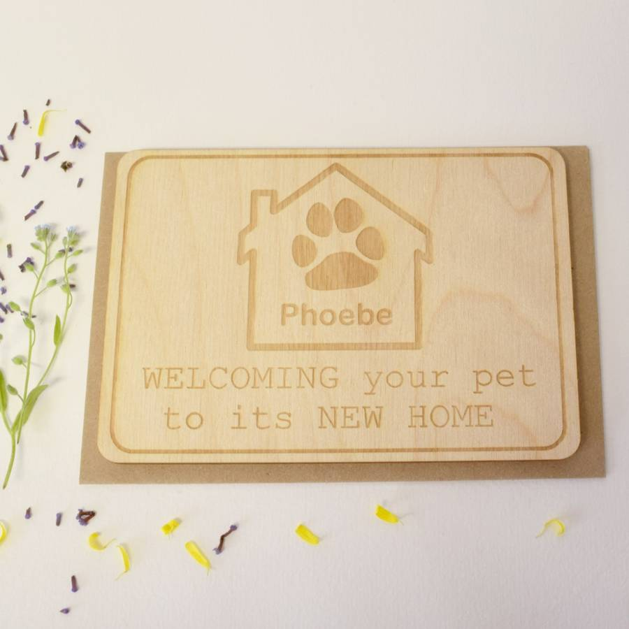 Personalised New Pet Wooden Postcard