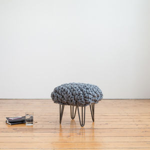'Helena' Handwoven Wool Footstool With Hairpin Legs - living room