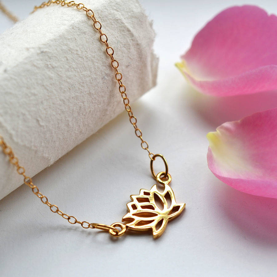 silver lotus flower necklace by lily charmed ...
