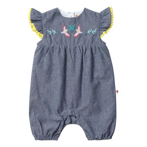 Baby Girls Blue Tropical Chambray Short Sleeved Romper