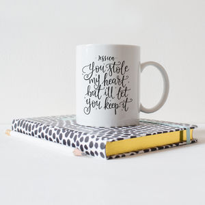 Personalised 'You Stole My Heart' Typography Mug