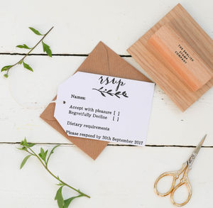 Wedding RSVP Stamp With Natural Sprig - stickers & stamps