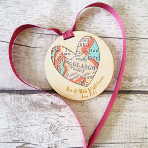 Personalised New Home Heart Map Decoration
