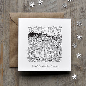 Colour In Bear Christmas Card