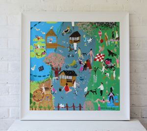 'A Day In The Park' Original Framed Painting On Canvas - canvas prints & art