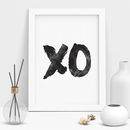 'Xo' Hugs And Kisses Black And White Typography Print