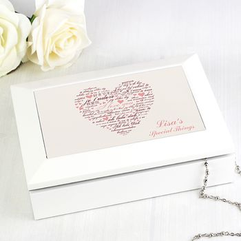 Personalised Heart Jewelry Box With Mirror