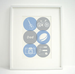 Personalised Mens Hobbies Print